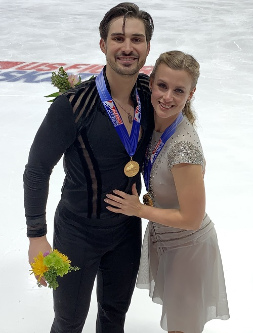 Madi and Zach after winning the 2019 GEICO U.S. Figure Skating Championships